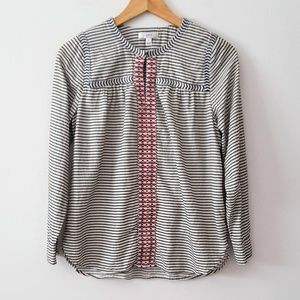J. CREW EMBROIDERED PEASANT STRIPE EMBROIDERED TOP